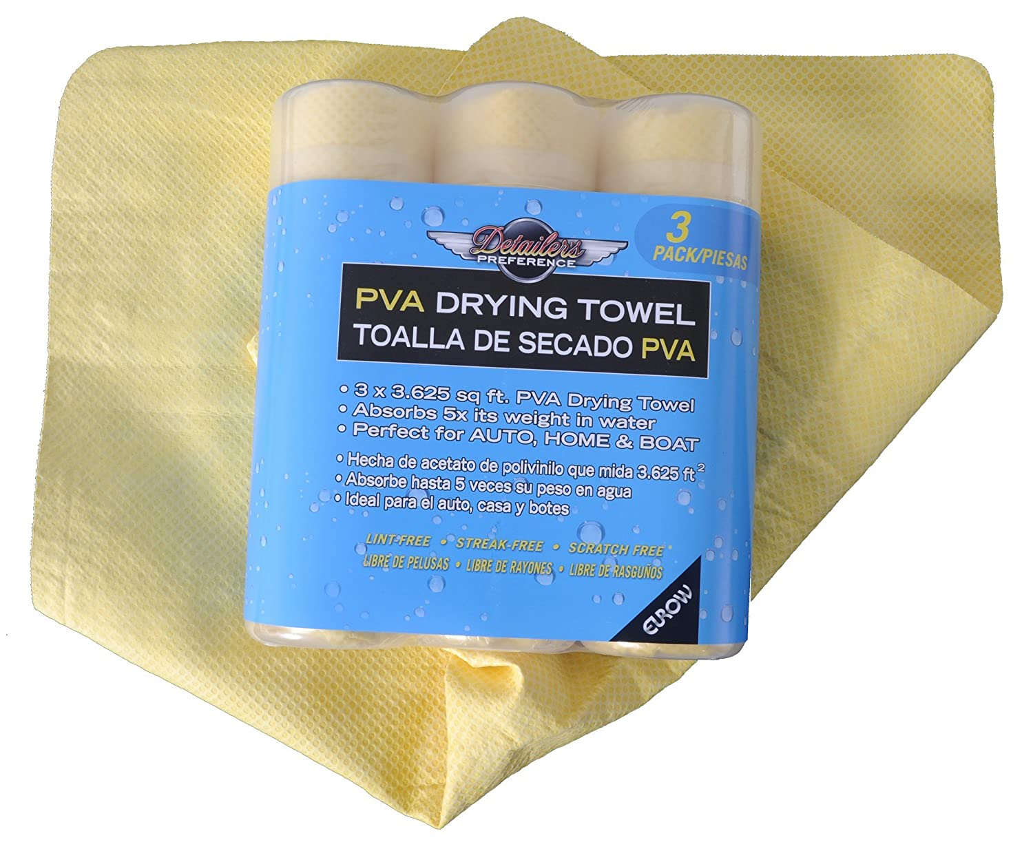 Amazon.com: Detailers Preference Eurow PVA Synthetic Drying Chamois 3.6 SqFt (3-Pack): Automotive