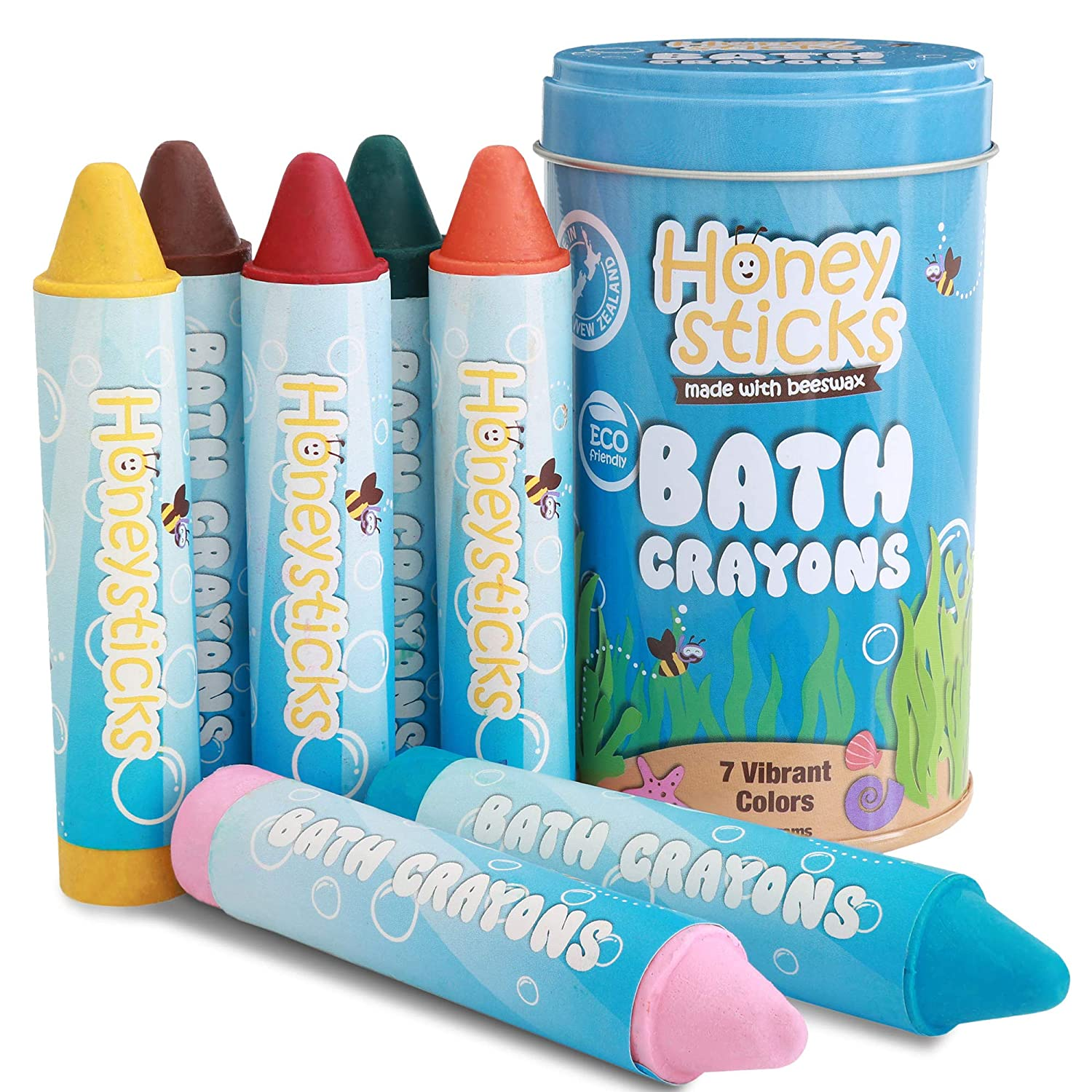 Honeysticks Beeswax Bath Tub Crayons Toddlers & Kids, Non-Toxic, Washable & Easy Clean Up, Water Soluble Bath-Time Fun, Food Grade Pigments, Handmade in Zealand (7 Pack)