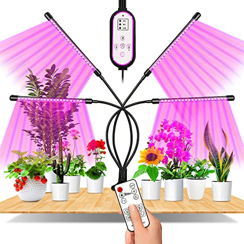 Grow Light,EWEIMA 4 Head Led Plant Light with 80 LED 10 Dimmable Levels,Grow Lights for Indoor Plants Full Spectrum with Auto 4 8 12H Timer, 3 Lighting Modes, Remote Control,1 2 3 4 Lights On