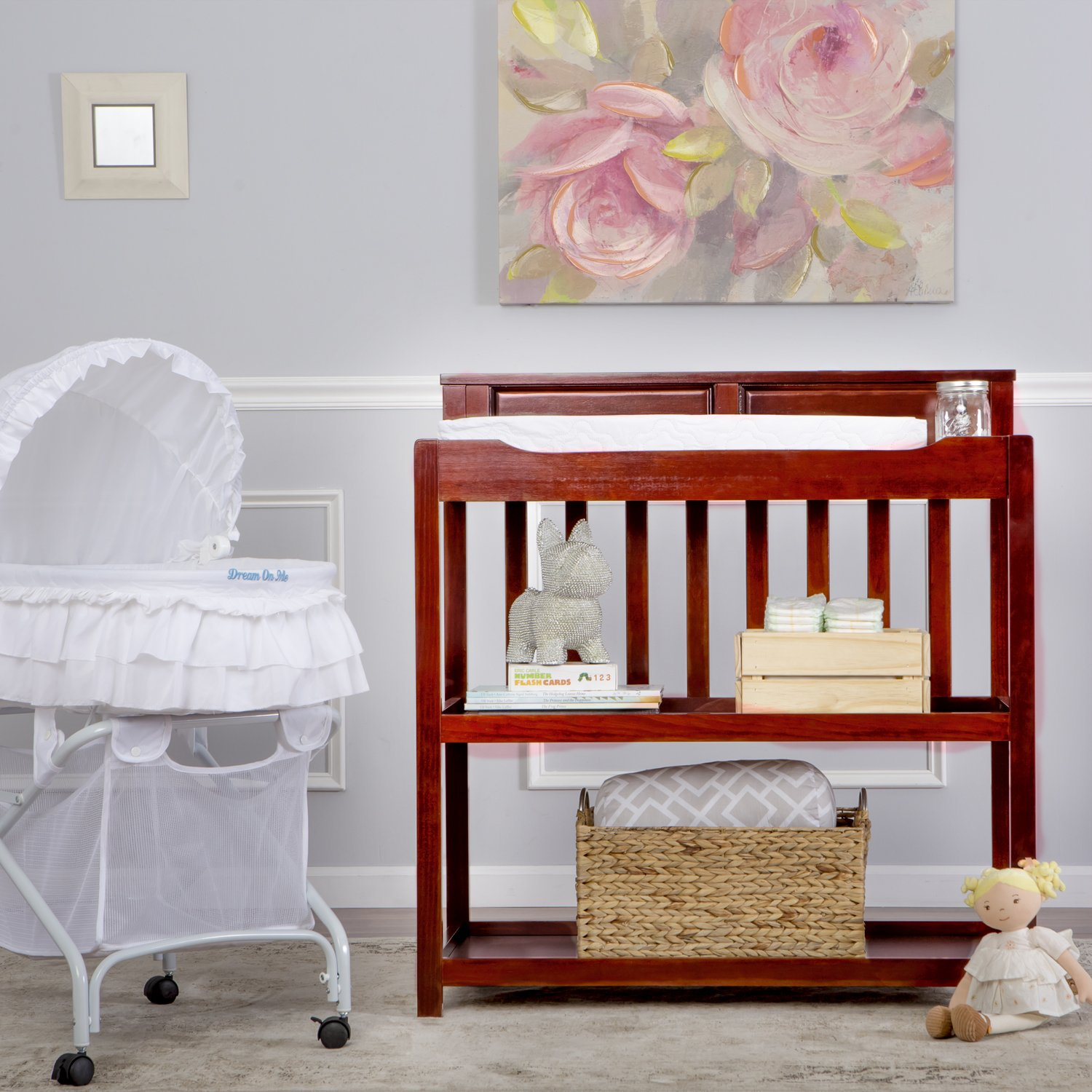 Dream On Me Zoey 3-in-1 Convertible Changing Table, Cherry