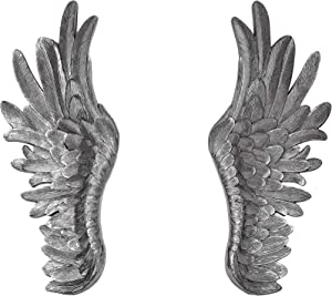 NRMEI Large Size Wall Hanging Wings Grand Angel Wings 2 Piece Set Vintage Style Bas Relief Sculptures Hand Crafted Wall Decor Artisinal Design(40''Tall Silver Wings)