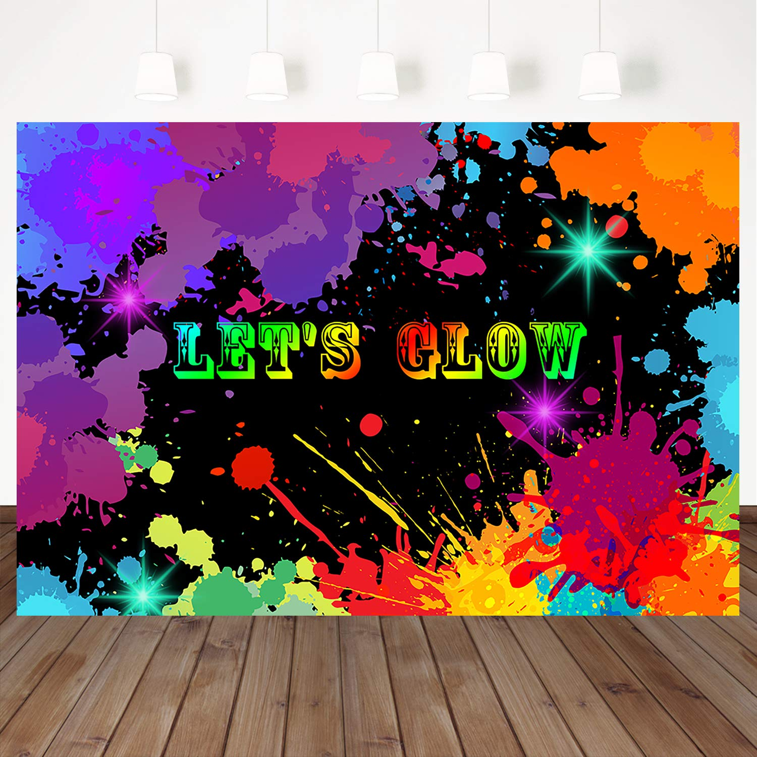 New 7x5ft Let s Glow Graffiti Wall Glow Birthday Party Decor Glow Photo Props Photography Backdrop Background w-1553