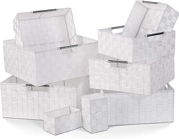 Homfa 9 Cestas Almacenaje Organizador de Cajones Cajas Plásticas con Efecto de Mimbre y Asas para Dormitorio Cocina Oficina Baño Blanco: Amazon.es: Hogar