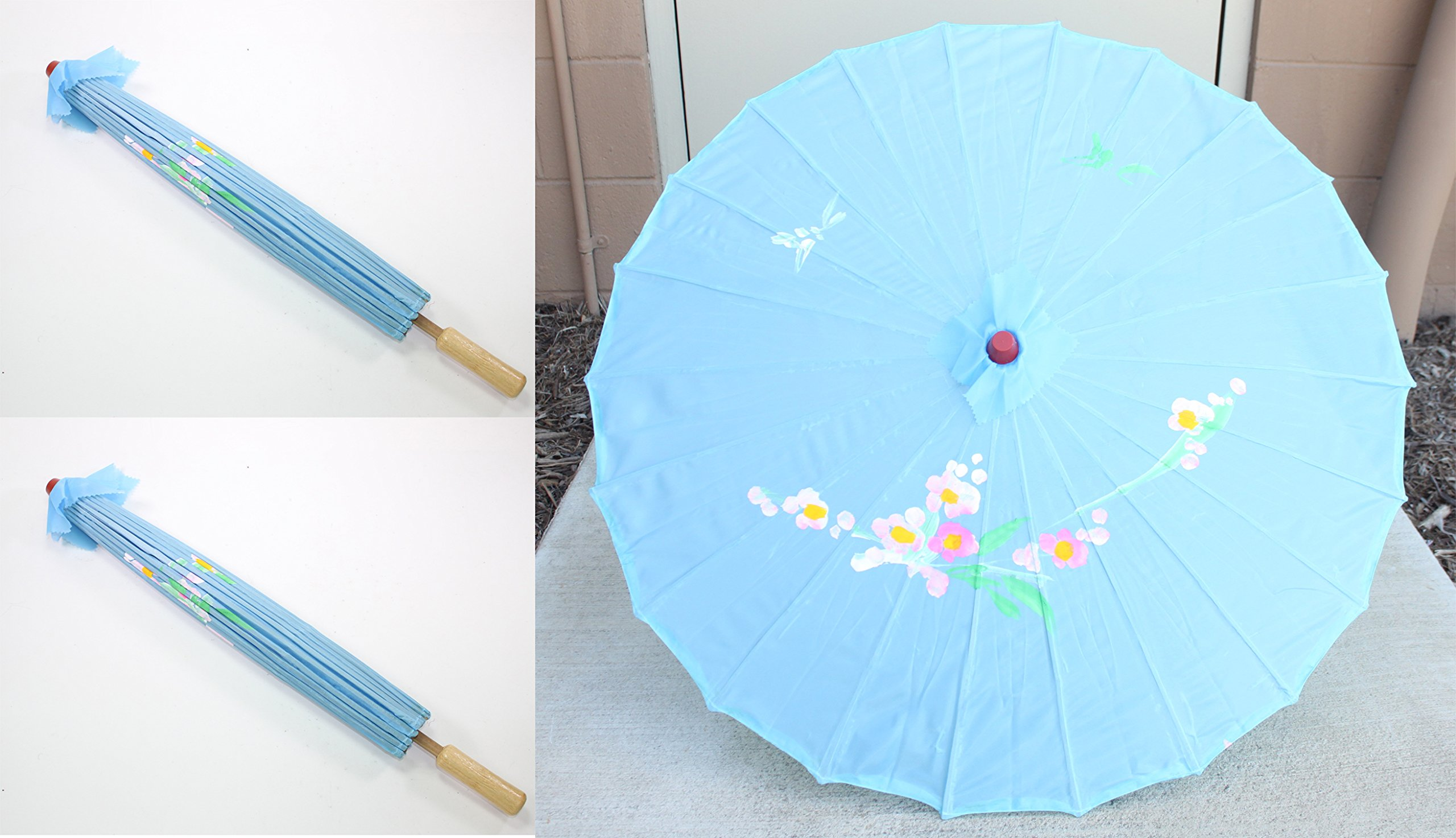 "We pay your sales tax Pair of 32"" Inch Diameter Light Blue Floral Pattern Wood Bamboo Nylon Parasol Umbrella Backyard Decoration Gift - Measurements: 32"" (L) x 22"" (H) when it's open. 2 umbrellas. Made out of wood, bamboo and nylon Can provide you with a nice amount of shade during hot or sunny days - shades-parasols, patio-furniture, patio - 81Z OEtZKsL -"