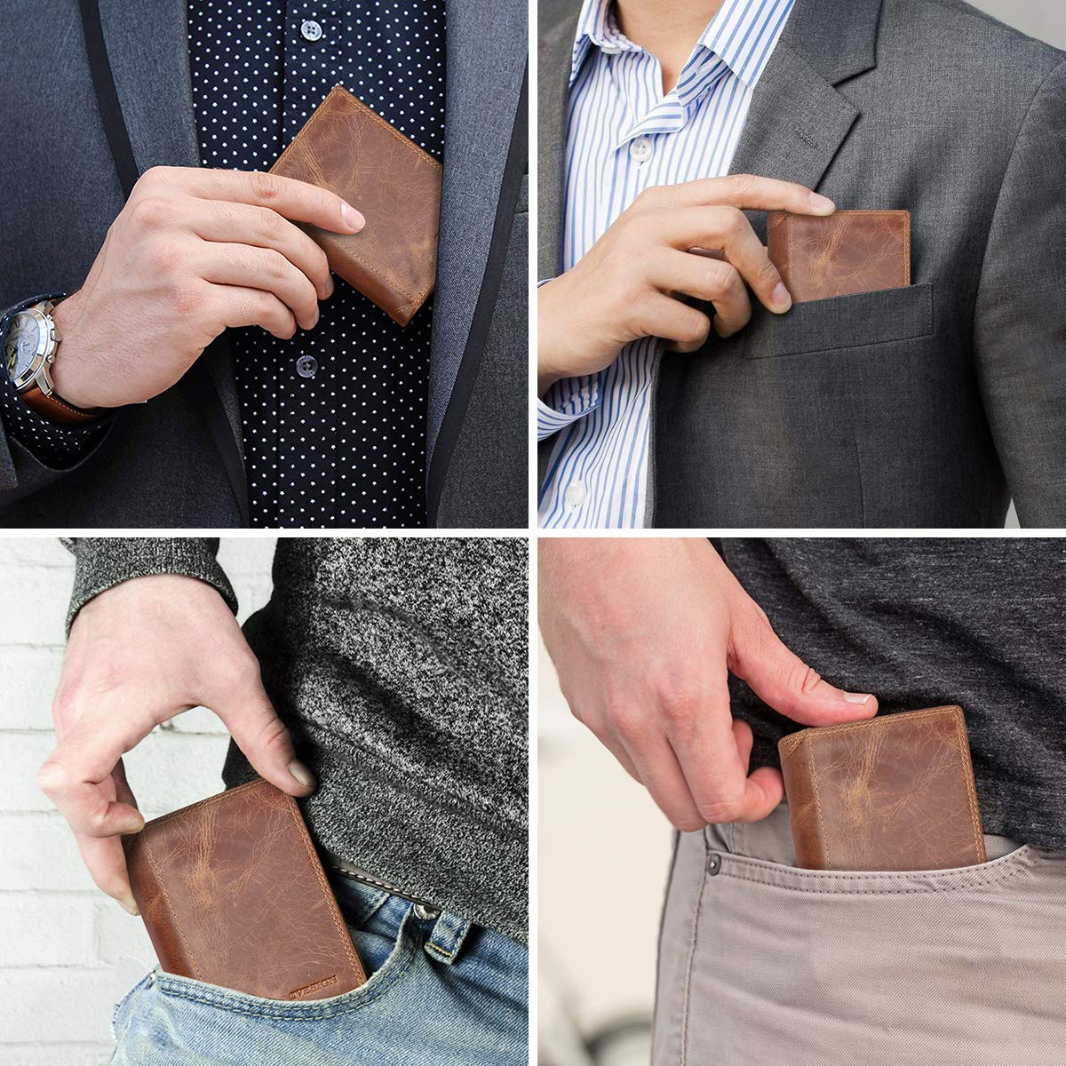 IVESIGN Bifold Travel Wallet RFID Blocking Genuine Leather Credit Card Holder