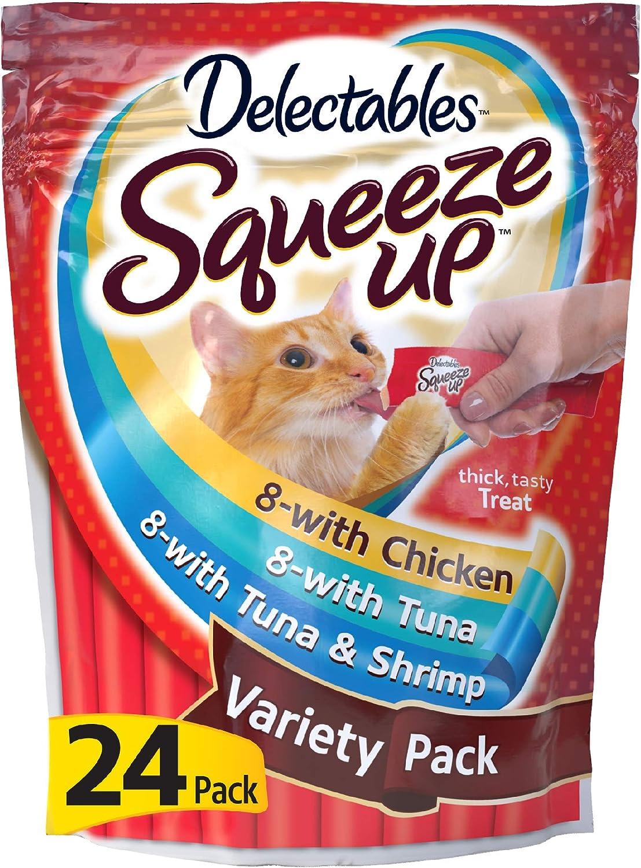 Hartz Delectables Squeeze Up Interactive Lickable Wet Cat Treats for Adult & Senior Cats, Tuna & Shrimp, 24 Count
