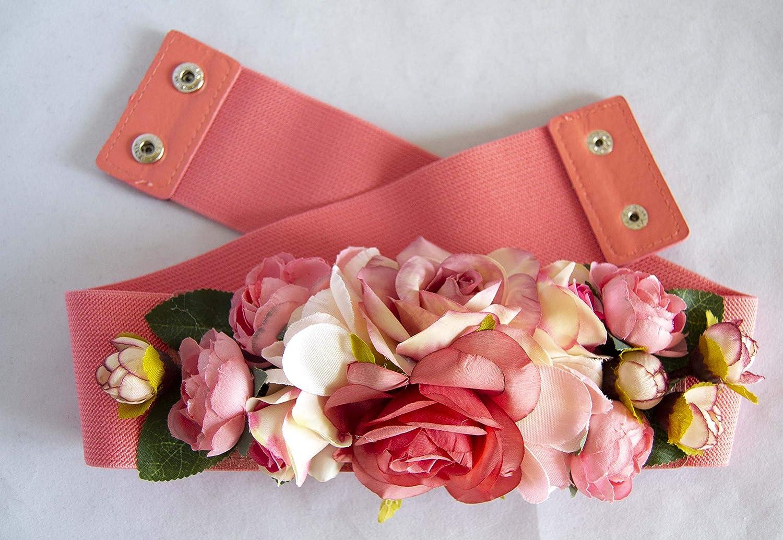 Cintur/ón el/ástico para vestido fiesta rosa salm/ón con adorno de flores ENV/ÍO GRATIS 72h