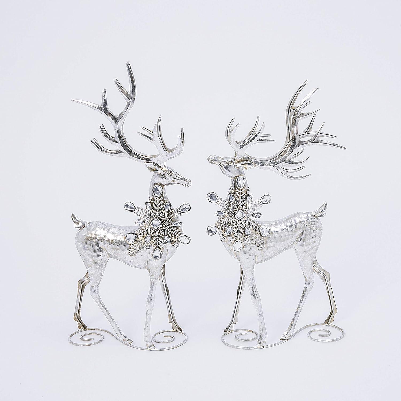 GER 20 Inch High Silver Christmas Deer Set of 2, Decorative Metal Holiday Reindeer