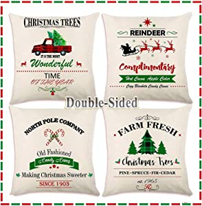 OurWarm Christmas Pillow Covers 18x18 Inch Set of 4, Farmhouse Christmas Decorations Pillows Cases with Buffalo Plaid Red Truck Xmas Tree, Rustic Linen Holiday Pillow Covers for Christmas Home Decor