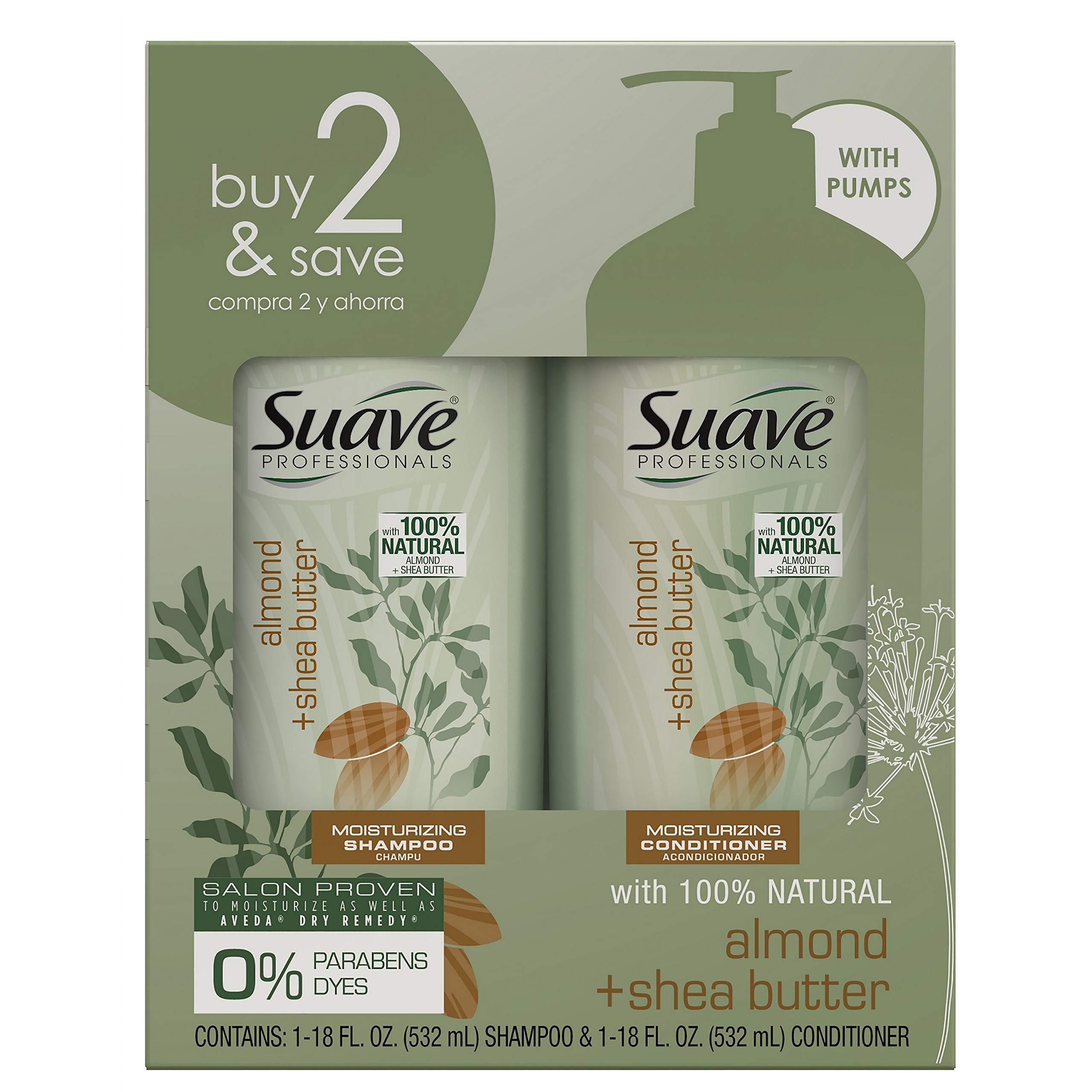 SUAVE HAIR Professionals Almond + Shea Butter Moisturizing Shampoo And Conditioner, 36 Fl Oz (packaging may vary) by Suave