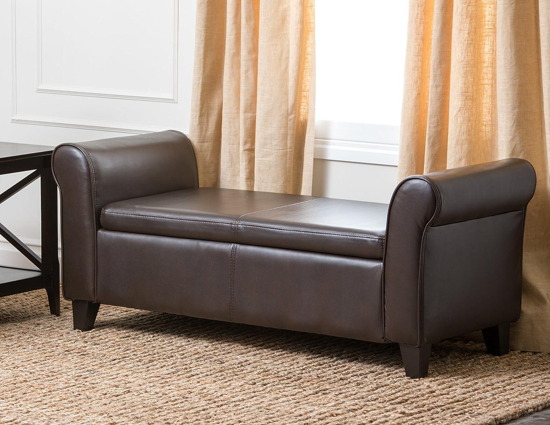 Amazon.com: Abbyson Easton Bonded Leather Storage Ottoman Bench ...