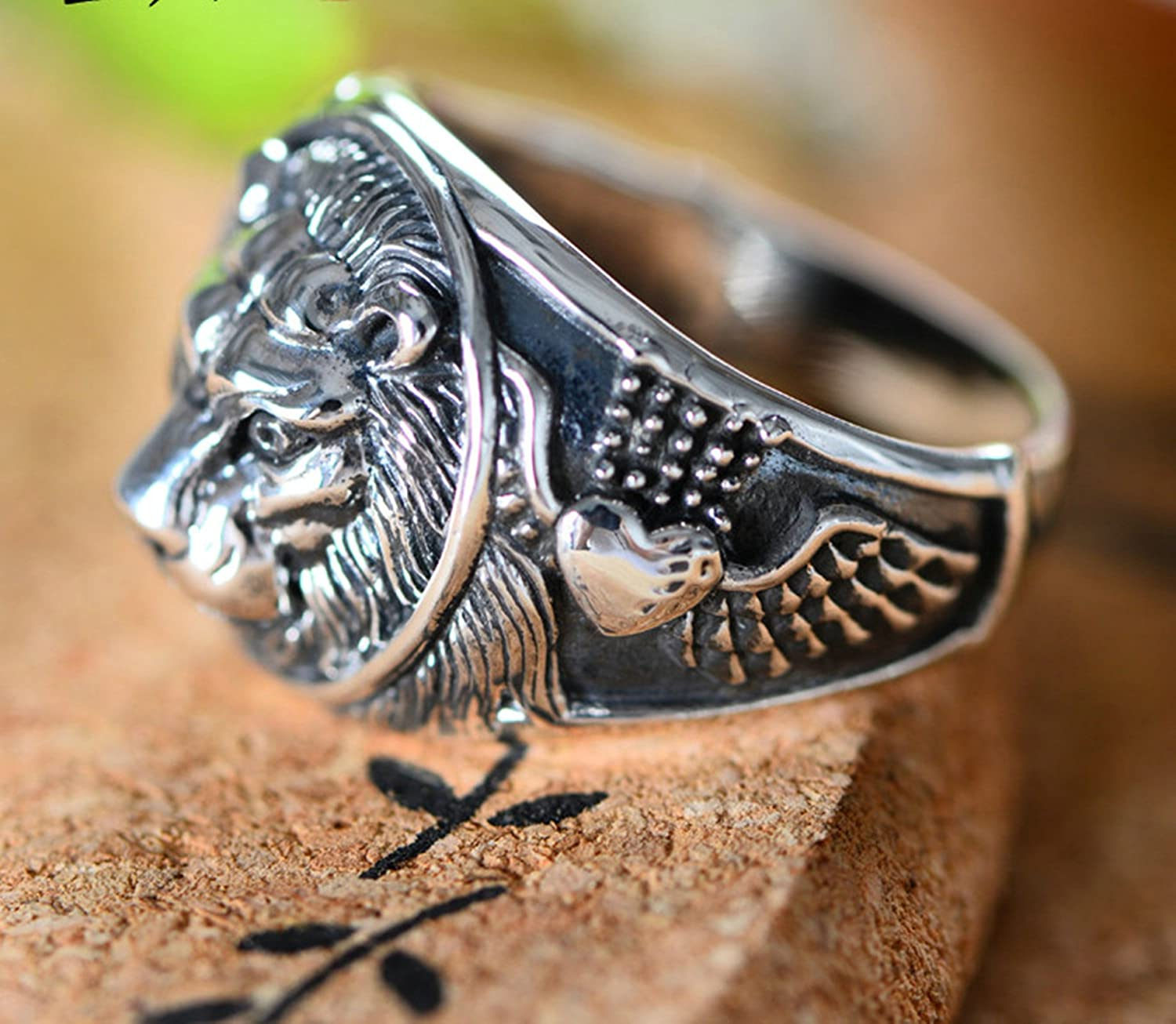 AMDXD Jewelry 925 Sterling Silver for Men Wedding Bands Retro Animal Silver Rings Size 8