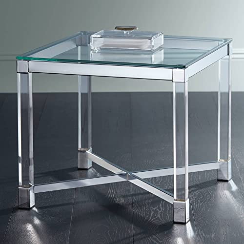 Jenna Chrome and Acrylic 22 Square Modern Accent Table – Studio 55D