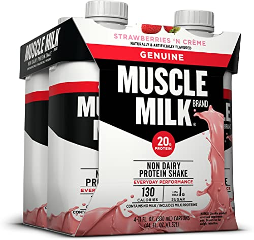 Muscle Milk Genuine Protein Shake, Strawberries N Cr me, 20g Protein, 11 FL OZ, Pack of 4