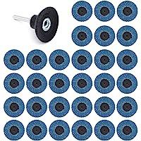 Yuhtech 31 stuks lamellenschijven 2 inch 50 mm 40 grit 60 grit 80 grit slijpschijven slijpschijven