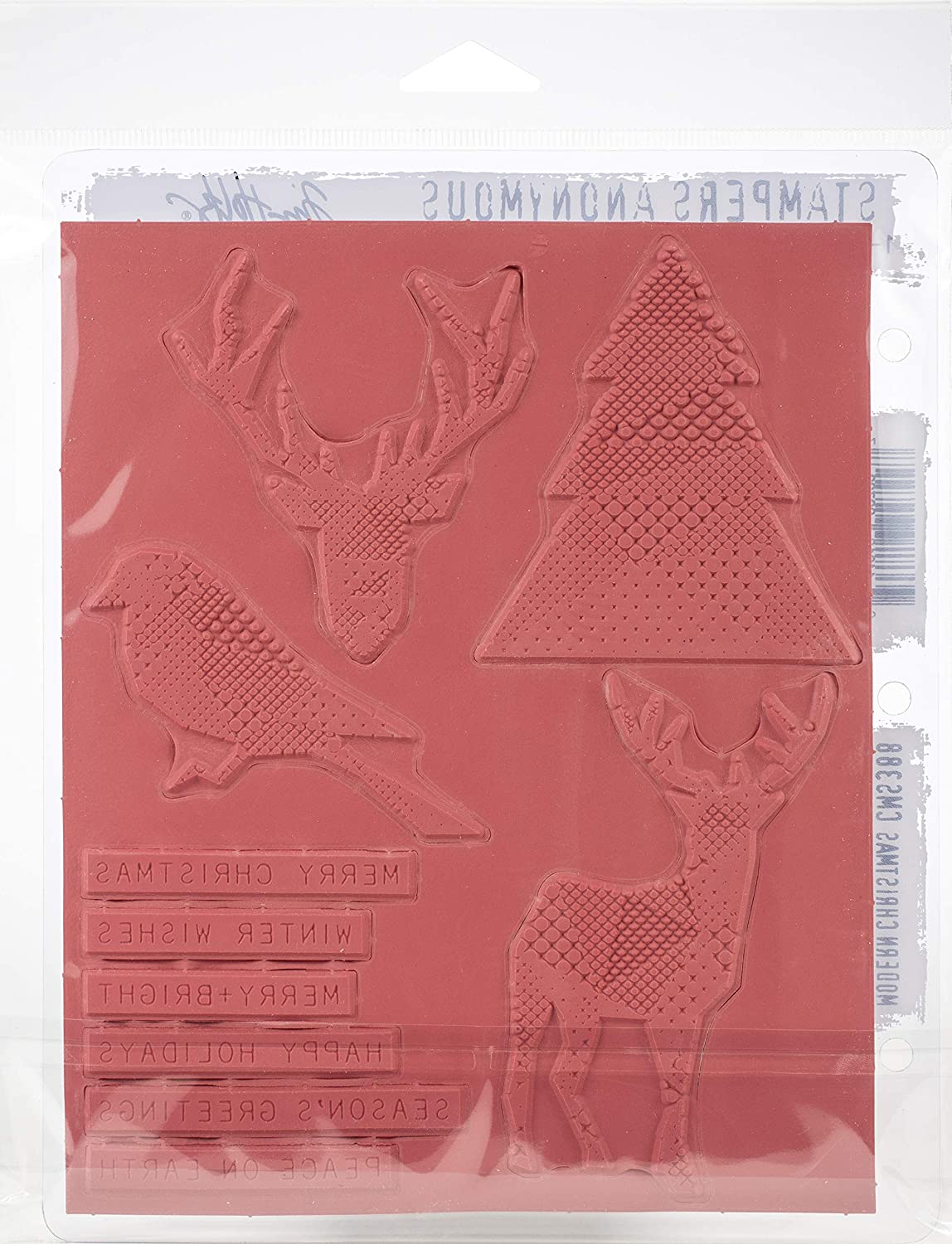 Tim Holtz Modern Christmas Stampers Anon Cling RBBR Stamp Set CMS