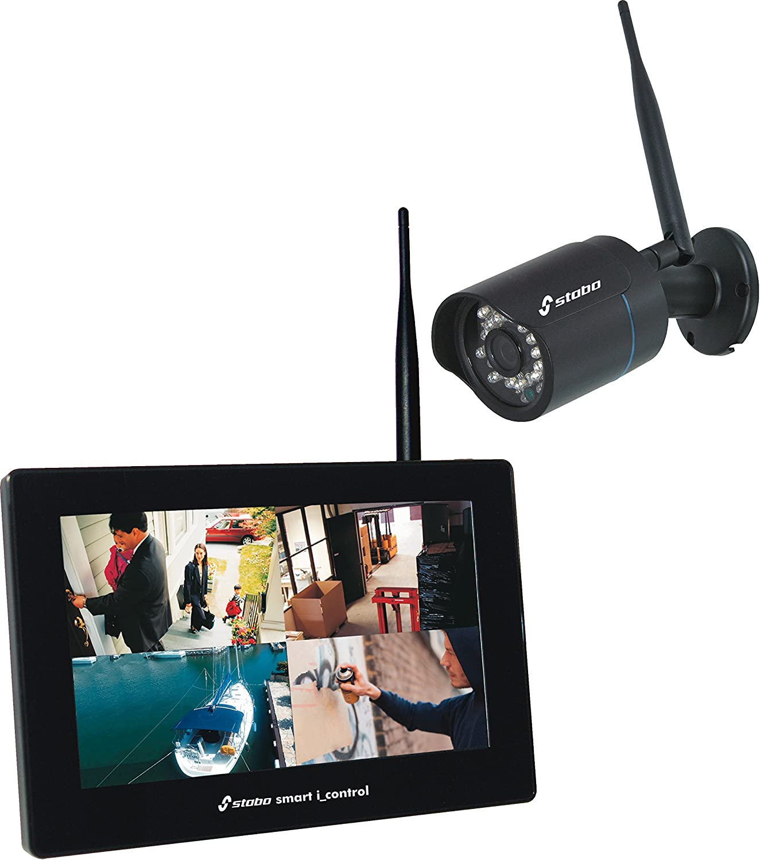 Smart i_Control - Sistema de videovigilancia inalámbrico con Pantalla táctil LCD y cámara Impermeable (720p)