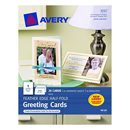 Amazon avery half fold feather edge greeting cards for inkjet avery half fold feather edge greeting cards for inkjet printers 55 x 85 m4hsunfo