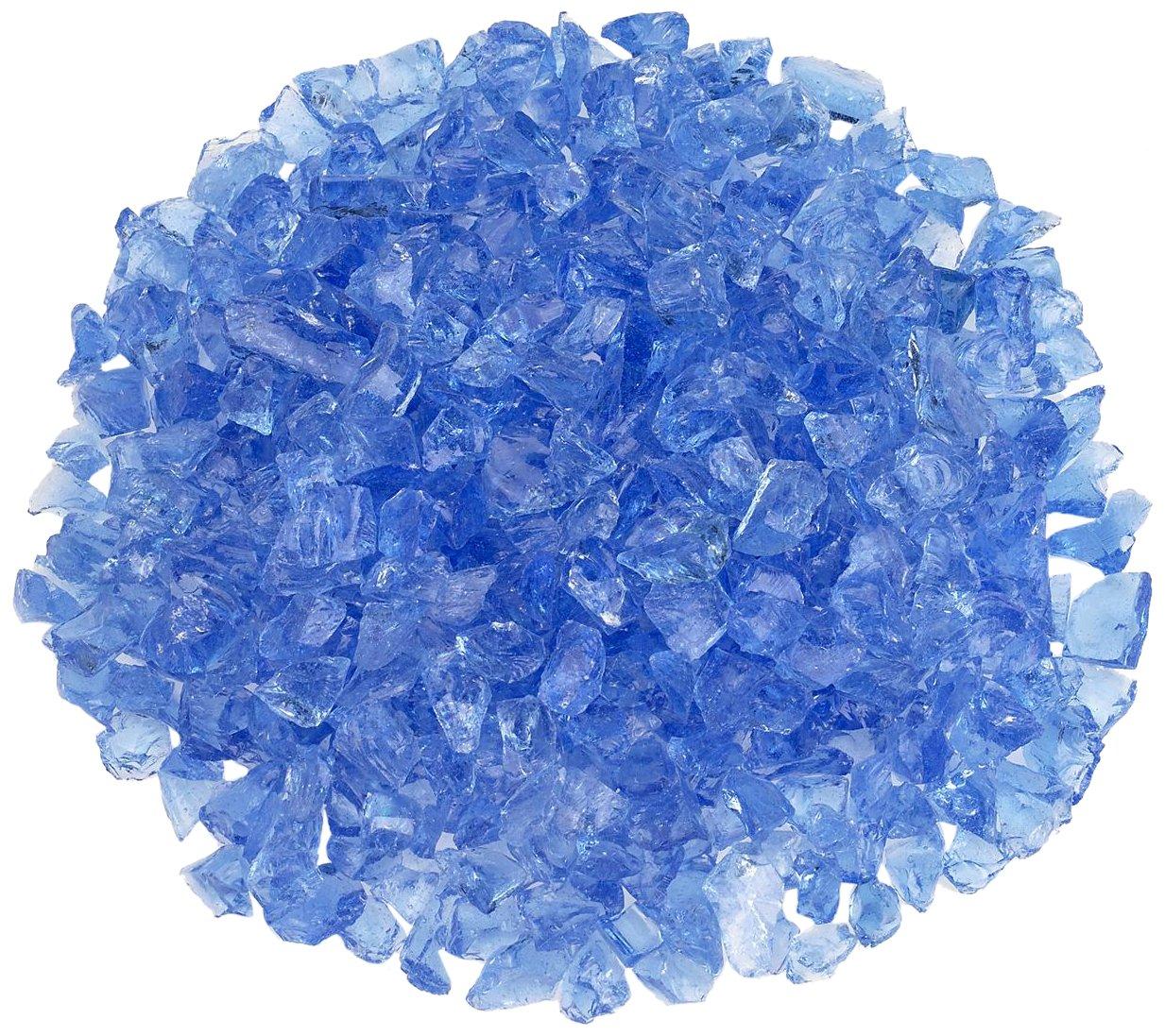 American Fireglass Light Blue Recycled Fire Pit Glass - Small (12-18Mm), 20 lb. Bag