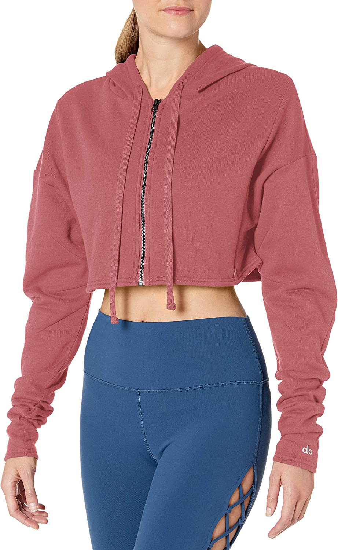 Rosewood Alo Yoga Womens Cropped Sweatshirt Large