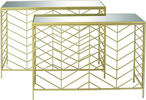 Deco 79 Metal Glass Console Tables Set of 2 , 39 x 42