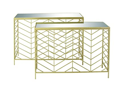 Deco 79 65498 Metal Glass Console Tables (Set Of 2), 39u0026quot; ...