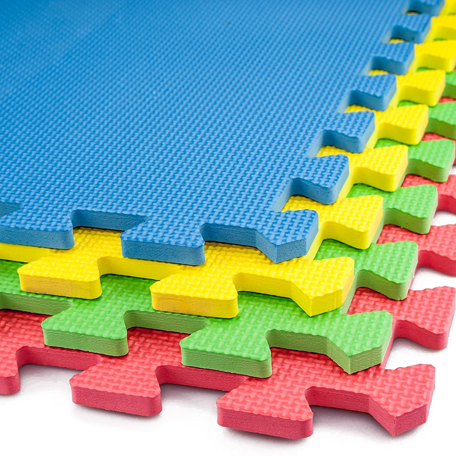 60*60CM SQ FT 8PCS Outdoor/Indoor Protective Soft Eva Interlocking Foam Mat Tiles Floor Mats for Gym, Play Area, Exercise, Yoga (Colorful cross)