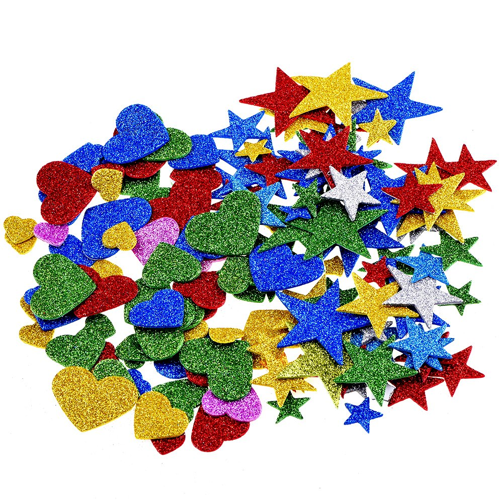 1.27 Onza Pegatina de Espuma Brillo Estrellas de Espuma y Pegatinas de Corazones Outus