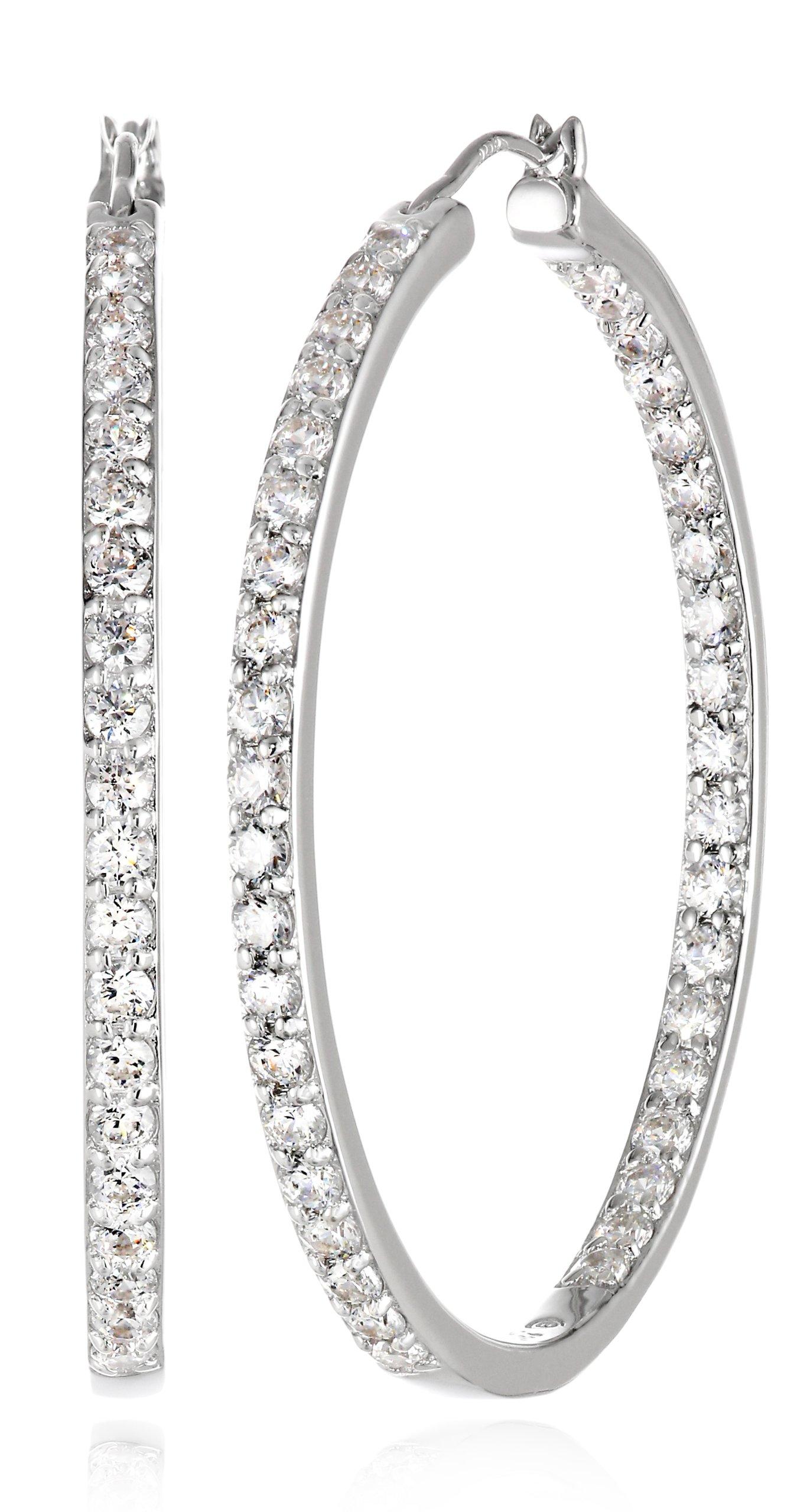 Platinum Plated Sterling Silver Hoop Earrings set with Round Cut Swarovski Zirconia (2.34 cttw), 1.5'' Diameter