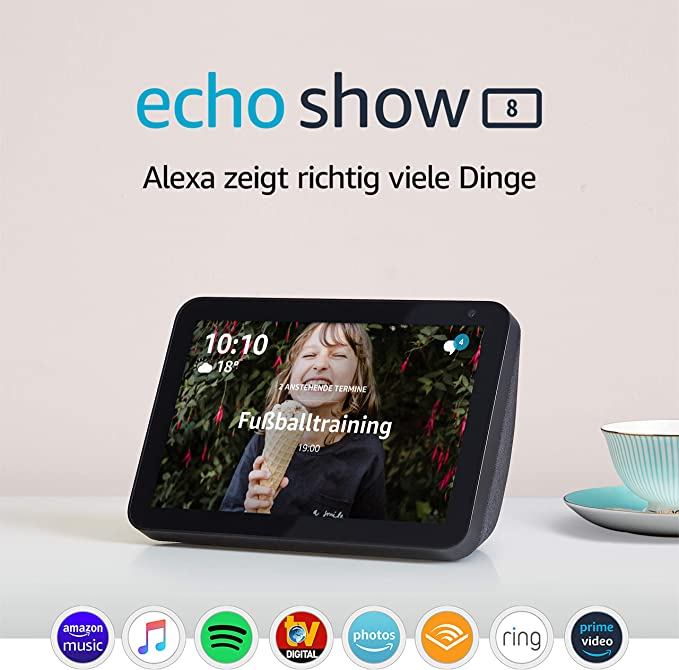 "Echo Show 8   8"" HD smart display with Alexa, Charcoal fabric: Amazon.de: Alle Produkte"