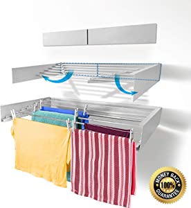 RivetStep Up Laundry Drying Rack – Wall Mounted – Retractable – Clothes Drying Rack