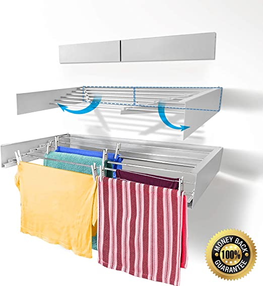 Large Wall Mounted Double Drying Rack White Home Laundry Room Organizer Storage