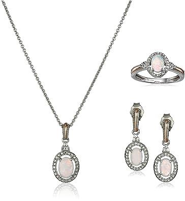 Fine Jewelry Girls 2-pc. White Sapphire 18K Gold Over Silver Jewelry Set SZQ7oXL