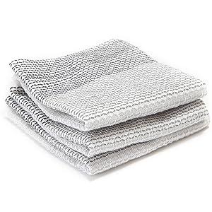 Full Circle Tidy 100% Organic Cotton Dish Cloths, Set of 3, Grayscale