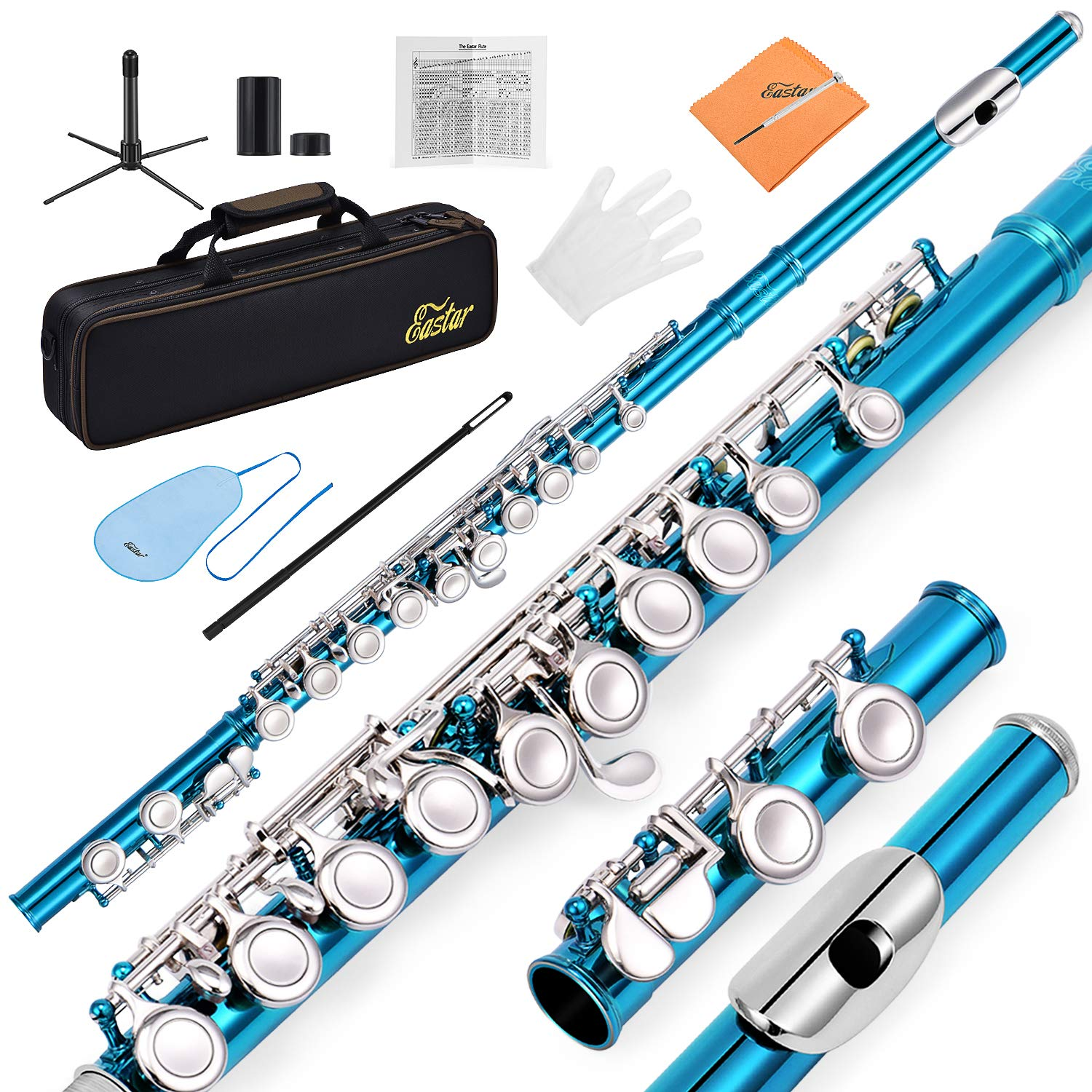 Eastar EFL-1SB 16 Keys C Flute Close Hole Instrument Nickel Plated Sky Blue Beginner Flute Set With Fingering Chart,Hard Case, Cleaning Rod, Stand, Strap, Gloves by Eastar (Image #1)