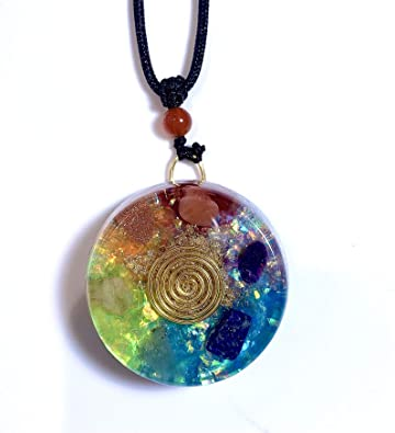 Moonstone 7 Chakra Oval Shape Pendant Spiritual Locket Gemstones Reiki Healing