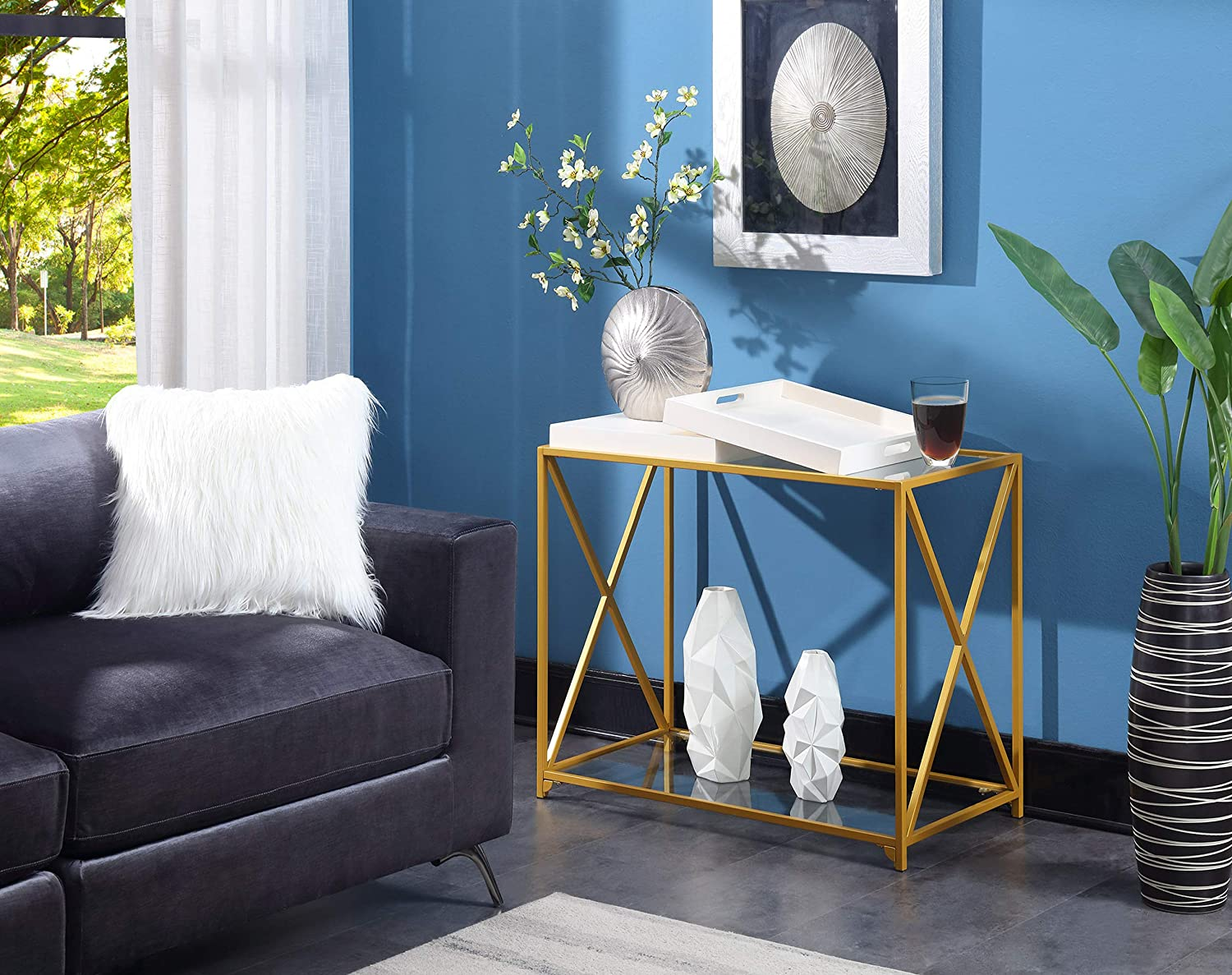 Convenience Concepts St. Andrews Console Table, White / Gold