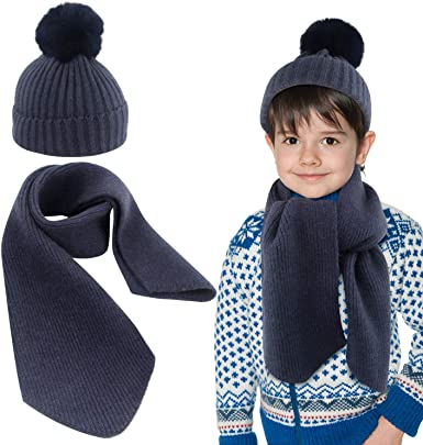 2pcs Scarf Hat Set Knitted Kids Winter Hat and Scarf for Boys Girls 2-8 Years