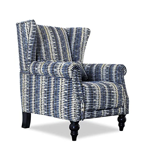 Top Space Accent Chair Sofa with Pine Wood Leg Club Arm Chair Stripe Single Sofa Modern Comfy Furniture for Home Living Room,Office,Bedroom, Print Stripe Blue