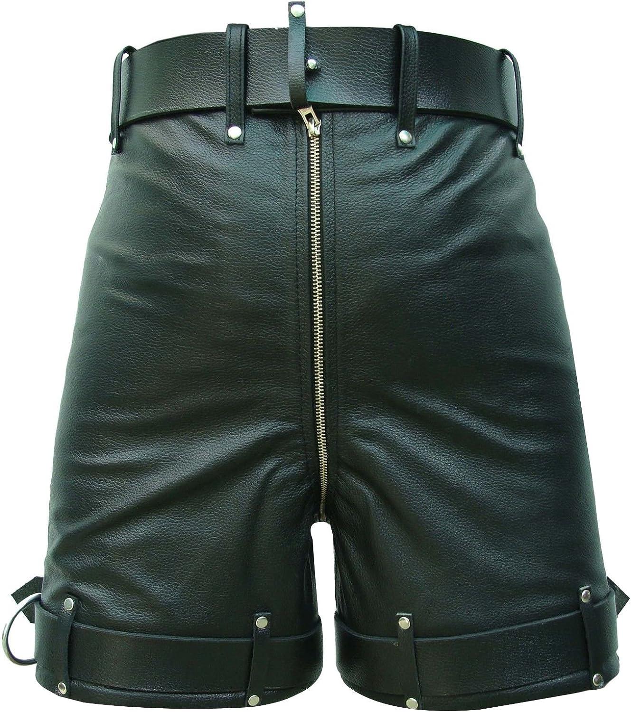 Mens Real Black Leather Chastity Bondage Shorts Locking Rear Zip Black
