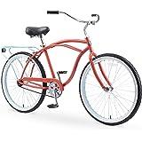 "sixthreezero Around The Block Men's Single-Speed Beach Cruiser Bicycle, 24"" Wheels, Matte Black with Black Seat and…"
