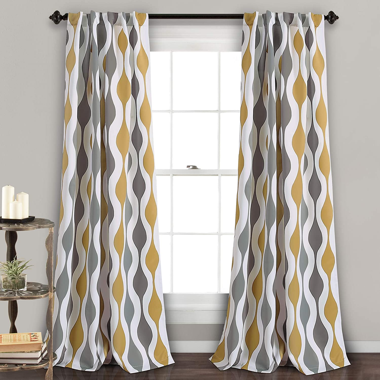 "Lush Decor Mid Century Geo Curtains | Wave Round Stripe Retro Design Room Darkening Window Panel Set for Living, Dining, Bedroom (Pair), 108"" x 52"", Gold and Gray, 108"" x 52"""