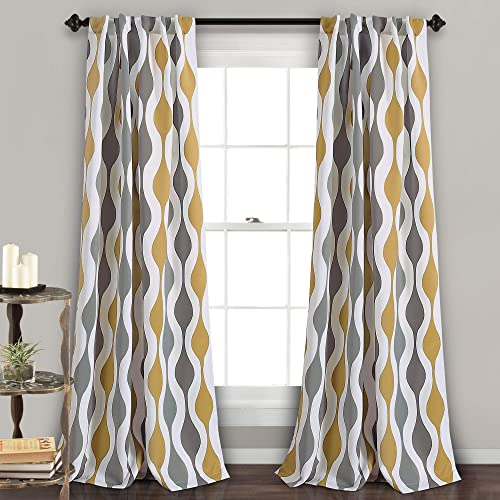 Lush Decor, Gold and Gray Mid Century Geo Curtains Wave Round Stripe Retro Design Room Darkening Window Panel Set for Living, Dining, Bedroom Pair , 108 x 52, 108 x 52