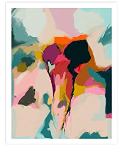 Spring Garden, Minimalist Abstract Art, Blue, Pink, Red and Cream Contemporary Wall Art For Bedroom and Home Decor, Modern Boho Art Print Poster For Her and Him 11x14 Inches, Unframed