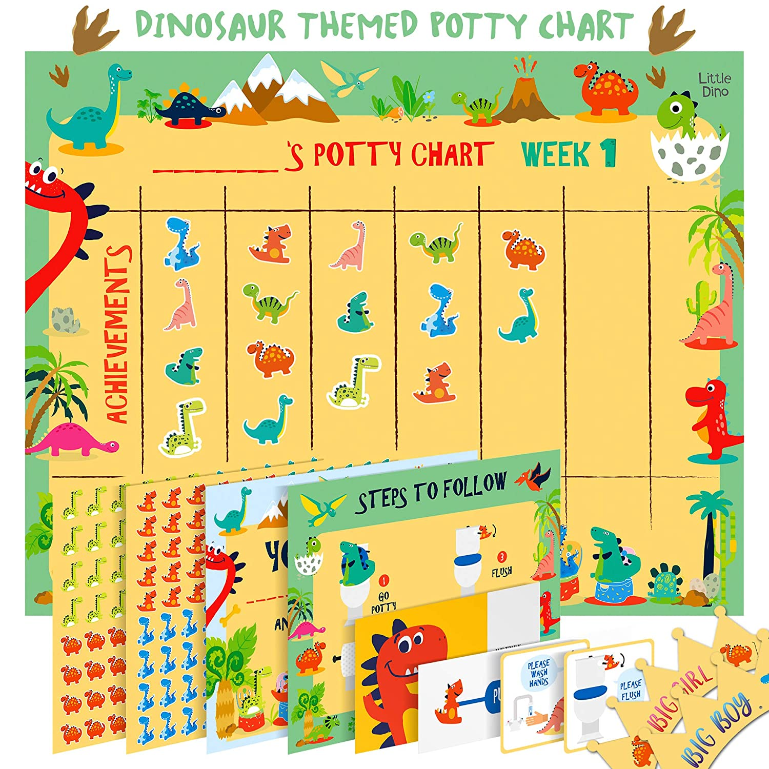 Potty Training Chart for Toddlers – Dinosaur Design - Sticker Chart, 4 Week Reward Chart, Certificate, Instruction Booklet and More – for Boys and Girls