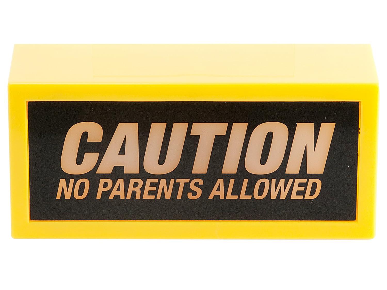 Wanted WA0856 Décoration lumineuse Lumière Caution No parents allowed Jaune et noir ABS Lampe déco sans fil
