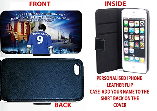 quality design ac9a5 e5f59 EVERTON UNOFFICIAL PERSONALISED IPHONE 4 & 4S LEATHER FLIP CASE ...