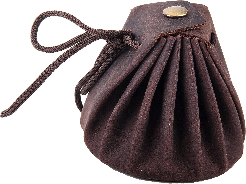 ANDERS Bolsa de pie cierre con cord/ón estilo medieval cuero