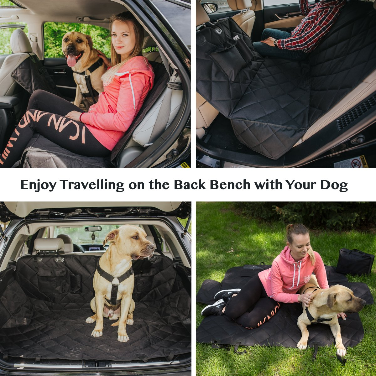 EVOest Dog Car Seat Cover for Cars/Trucks/SUV's,Hammock Convertible, Waterproof Pet Back Seat Protector with Extra Side Flaps, Bonus Pet Seat Belt & Carry Bag (Medium) by EVOest (Image #5)