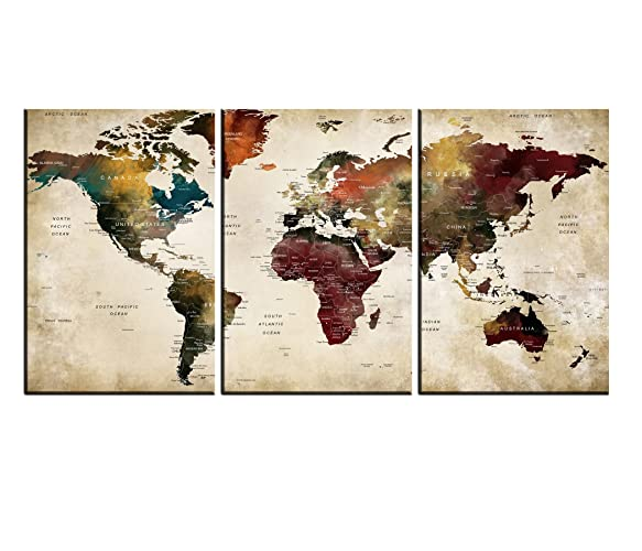 Amazon.com: Extra Large World Map Canvas Art,Vintage Map Poster ...
